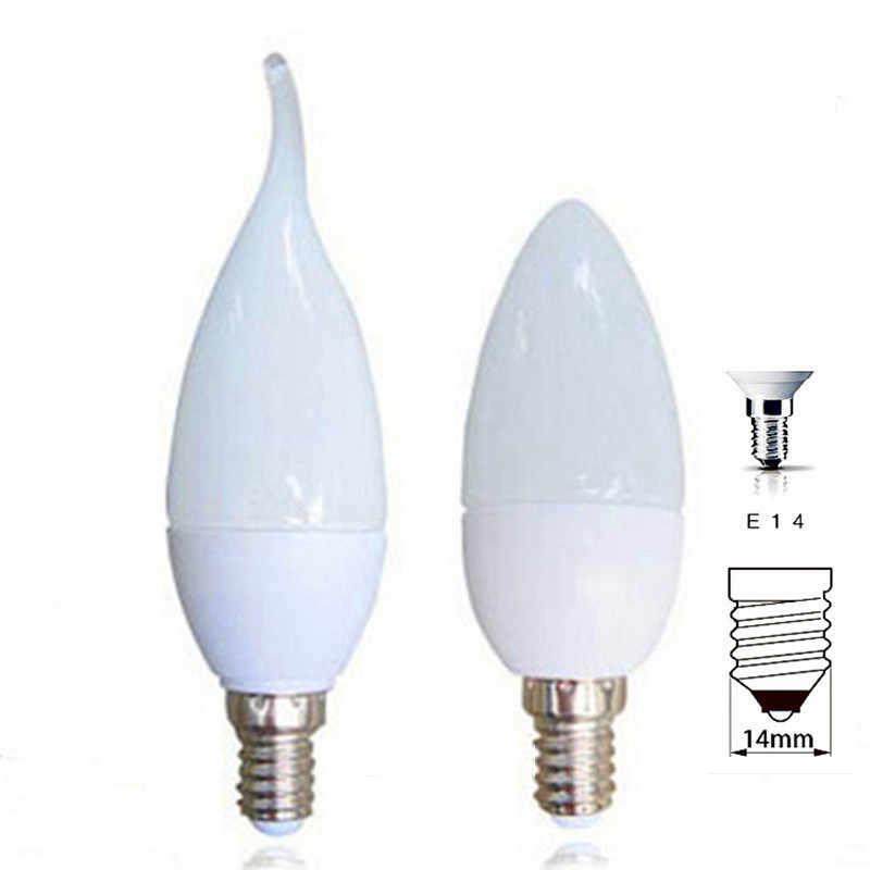 1 pièces ampoules LED en forme de bougie E14 SMD2835 220 V lampe à économie d'énergie Velas Bombilla Decorativas éclairage domestique lampe à LED 220 V 3 W 5 W E14