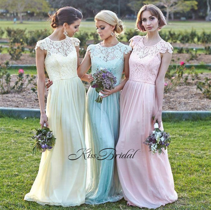 New Cheap Long   Bridesmaid     Dress   O-Neck Cpa Sleeve A-Line Floor Length Chiffon Wedding Party   Dresses   Vestido madrinha