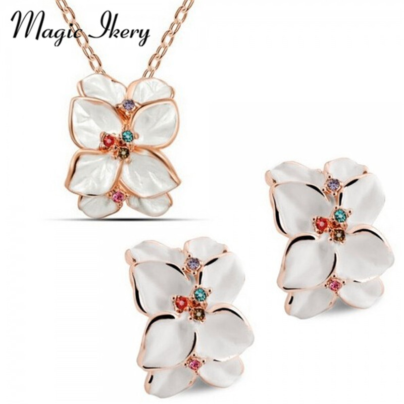 Magic Ikery New Spring Gifts Gold Color Rhinestone Crystal Vintage Rose flower African costume Jewelry Sets Fashion for women