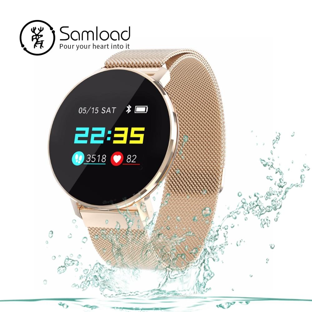 Samload T5 Montre Smart Watch Adulte Métal Ronde montre Sport bracelet Passometer Fitness Fréquence Cardiaque Tracker Pour IOS Android Téléphone Xiaomi