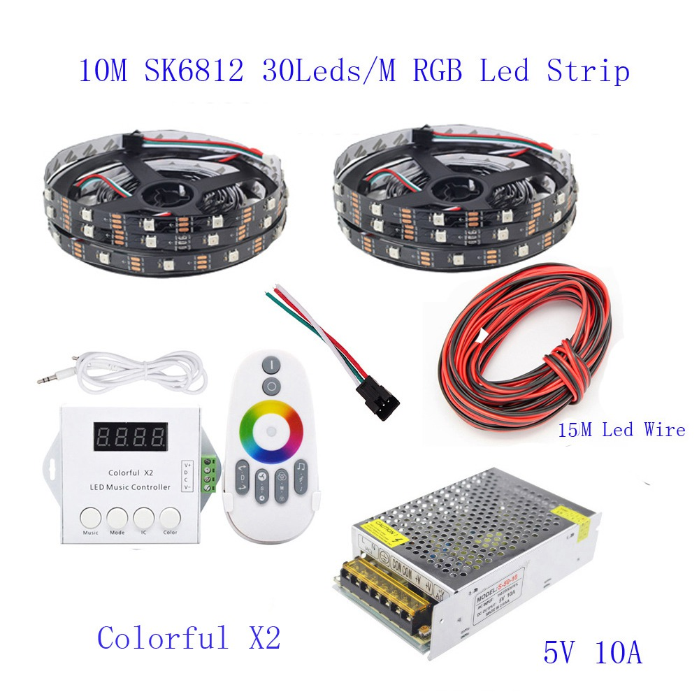 25M 20M 15M 10M 5M WS2812B LED Strip WS2812B IC 30 leds/M RGB Smart Pixel  Strip + Colorful X2 Led Controller + Led power supply