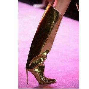 Image 4 - MStacchi מסלול נעלי עקב צבעים בוהקים מראה עור מתכתי מעל הברך נשים מגפי סופר עקבים גבוהים הברך גבוהה מגפי אישה