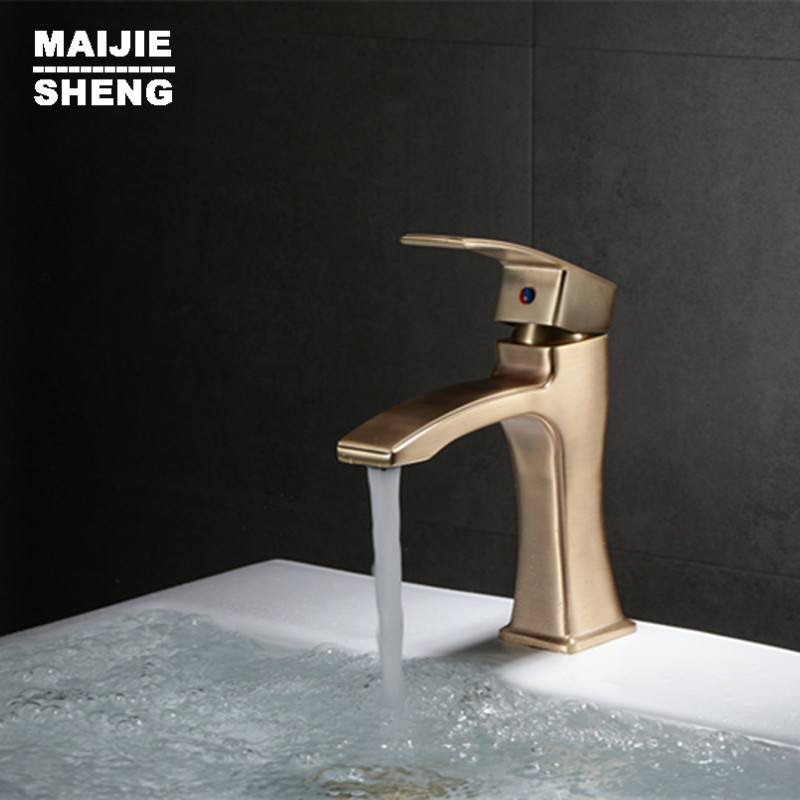 Nordic Rushgold Faucet Cold and Hot Copper Household gold Luxury Bathroom Washing basin Faucet bathroom mixer tapNordic Rushgold Faucet Cold and Hot Copper Household gold Luxury Bathroom Washing basin Faucet bathroom mixer tap