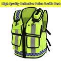 De los hombres ropa de trabajo chaleco de alta visibilidad de seguridad chaleco reflectante policía envío gratis