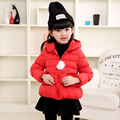 Baby girls winter coat 2017 new children's clothing 100% cotton-padded jacket solid hooded candy color short kids down outerwear