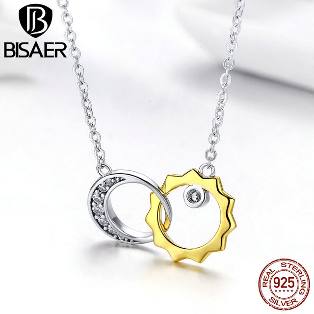 BISAER 925 Sterling Silver Gold Color Moon and Sun Double Circle Choker Necklaces for Women Korean Fashion Jewelry GAN039