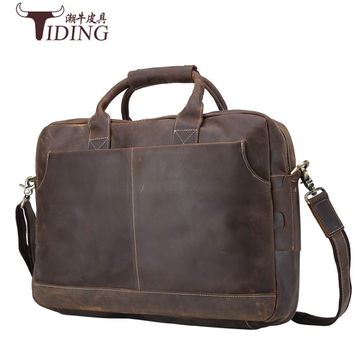 Men Crazy Horse Genuine Leather Messenger Shoulder Bag2017 Vintage Handmade 16 inch Laptop Briefcase Casual Travel Weekend Tote in Briefcases from Luggage Bags