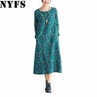 2016 Autumn Winter Long Sleeve Maxi Dress Women Plus Size Vintage Floral Casual Slim Cotton Linen