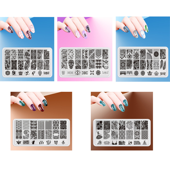 5Pcs/Set Nail Stamping Plates Set Stamper Scraper stencils for Polish Stamp Plastic DIY Nail Art Template Manicure Nail Tools
