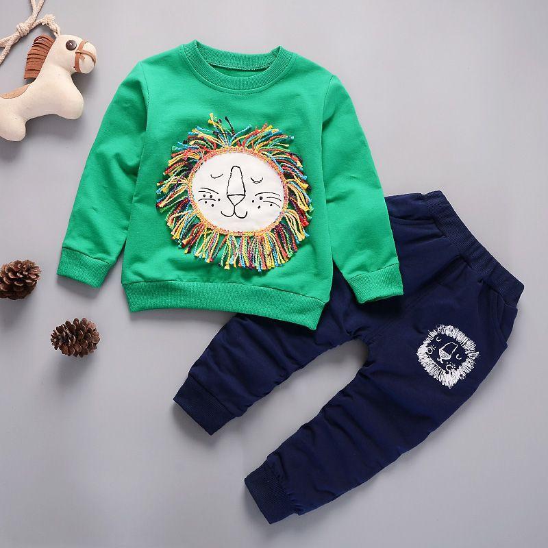 2018 Bambini Che Coprono 2 Pz Imposta Shirt + Pants Moda Lion Baby Boy Kid Vestito Di Autunno Della Molla Caduta Del Cotone Sport Tuta Outdoor