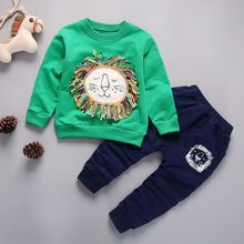 2019 Children Clothing 2pcs sets shirt +pants Fashion lion baby Boy Kid Autumn Spring Suit Fall Cotton sport tracksuit outdoor цены онлайн