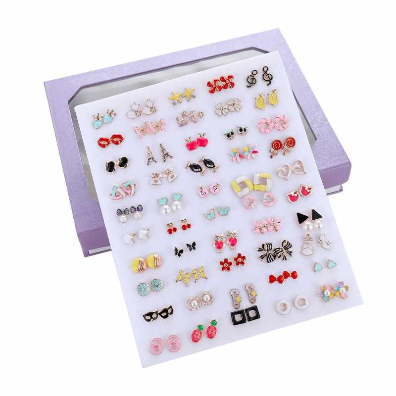 50 Pairs/Set Random Cute Insect Fruit Animal Stud Earrings For Women Kids Jewelry Fashion Crystal Pearl Enamel Earring Set Mix