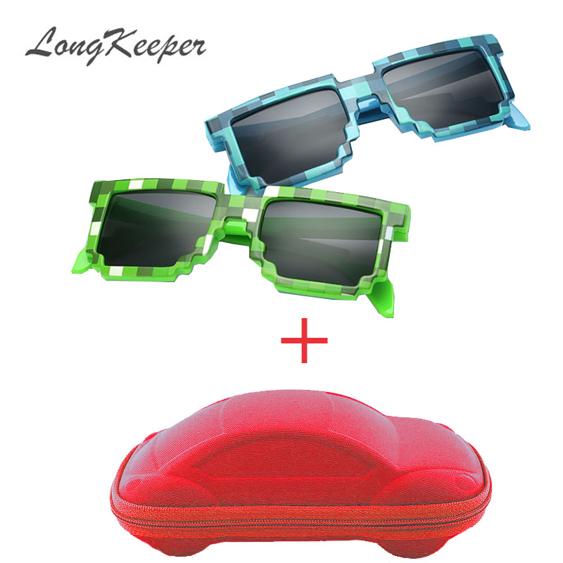 LongKeeper Fashion Kids 선글라스 Smaller Minecraft 선글라스 모자이크 소년 소녀 Pixel Eyewares With Case 아동 선물