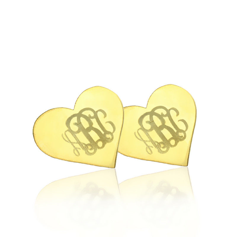 Freeshipping Heart Monogram Earrings Studs Custom Silver Engraved Monogrammed 3 Initials In Name Jewelry Drop From