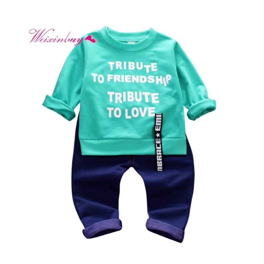 c6b169ed75df Newborn Baby Boy Clothes Set Letter Sweater + Jeans Set Baby Boy ...