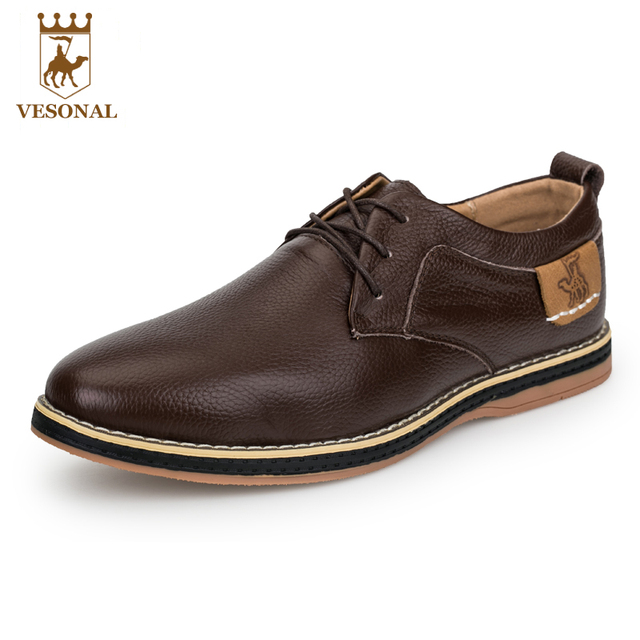 VESONAL Quality Hot Sale 2017 Brand Casual Male Shoes Men Adult Genuine Leather Spring Autumn Walking Comfortable Footwear Man