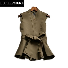 Women Suit Vest Waistcoat Sleeveless Office Jackets Ruffles Slim Army Green Vest Suit Fashion Coat Female Autumn Winter Clothing
