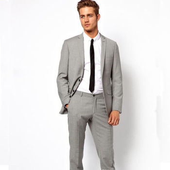 2018 Fashion costume homme Men Suits Light Grey Groomsmen Wedding Tuxedos Men's Party Prom Wear Suits (Jacket+Pants+Tie)