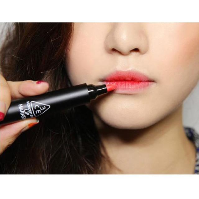 New Arrival Korean 3CE Moisturizing Lip Gloss Orange/Red Waterproof Liquid Lipsticks Marker Lipstick Makeup Free Shipping V1088A