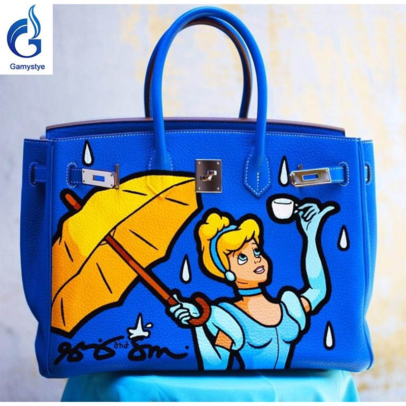 Gril with umbrella bag Genuine Leather women famous Messenger Bag Hand Painted Custom painting ladies totes handle princess YG лонгслив printio grunge skull