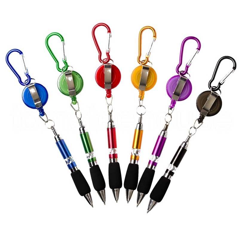 Wholesale Portable Retractable Badge Reel Golf Scoring Pen Belt Clip With Carabiner Snap Hook Golf Training Aids Accessories