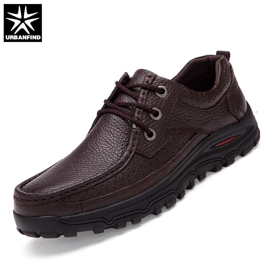 URBANFIND Good Quality Men Lace-up Dress Shoes Big Size 38-48 Genuine Leather Man Business Oxfords Black Brown 2 Color esudiamon casual shoes men british flats black men genuine leather business lace up soft dress men oxfords shoes 45 big size page 4