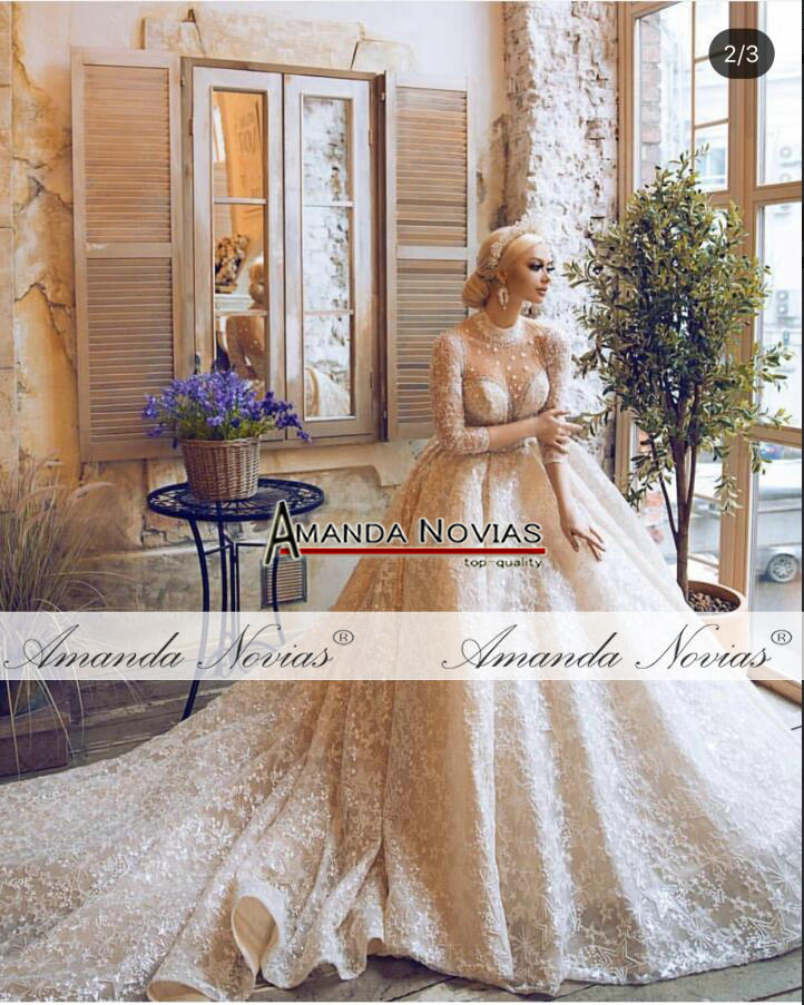 Image 5 - Amanda Novias brand wedding dress long sleeves  bride dress 2019Wedding Dresses   -