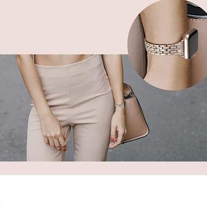 Image 5 - Für Apple Uhr Band 40mm 44mm 38 42mm Frauen Diamant Strap für Apple Uhr Serie 5 4 3 2 1 iWatch Armband Edelstahl Band