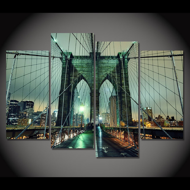Print Canvas Painting Brooklyn Bridge At Night Wall Art Picture Bar Cafe Home Decoration Living Room