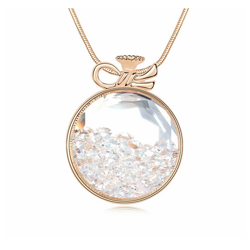 2017 Women Necklace Jewelry Accessories Long Sweater Chain Statement Necklace Crystal Big Pendant 3 Colors Christmas Best Gifts