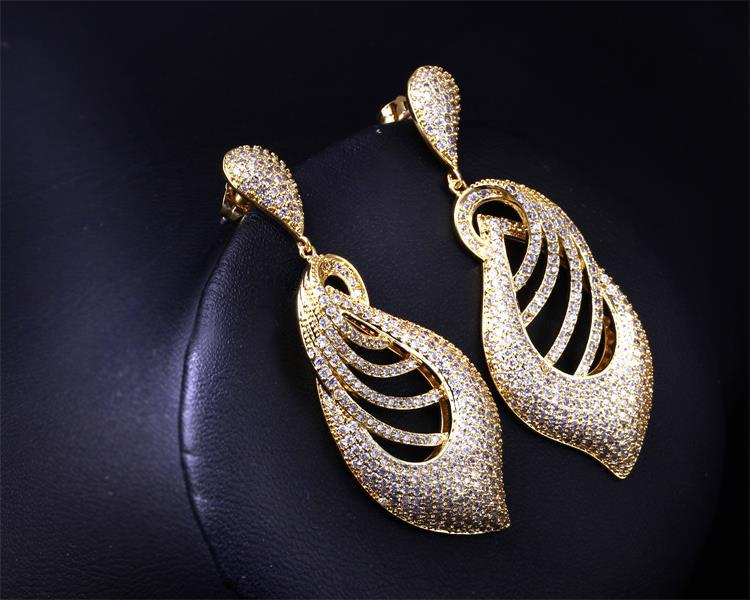 Vintage Long Earrings Stunning Tiny Cz Crystal Gold Color Jewelry Leaf Drop Bridal Wedding For Women In From
