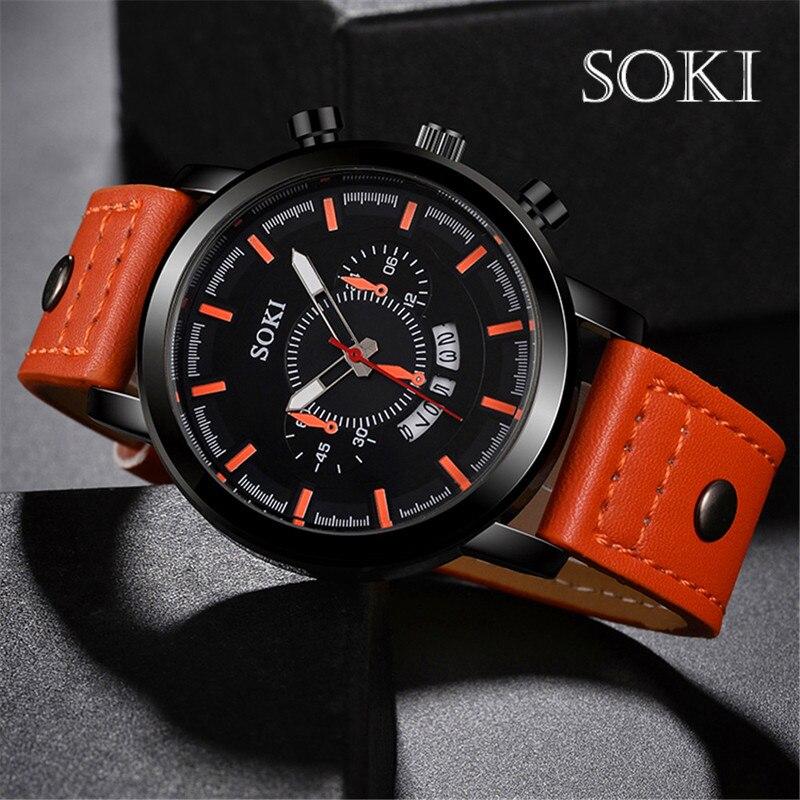 SOKI marque de luxe Sport montres mode bracelet en cuir Quartz hommes décontracté Date affaires hommes montres horloge Montre Homme