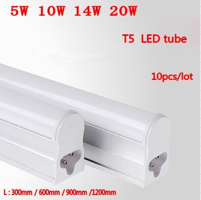 10pcs/Lot Led Tube T5 300mm 5W 600mm 9W 900mm 14W 1200mm 20W AC85-265V Led Fluorescent Lamp Free Shipping цена