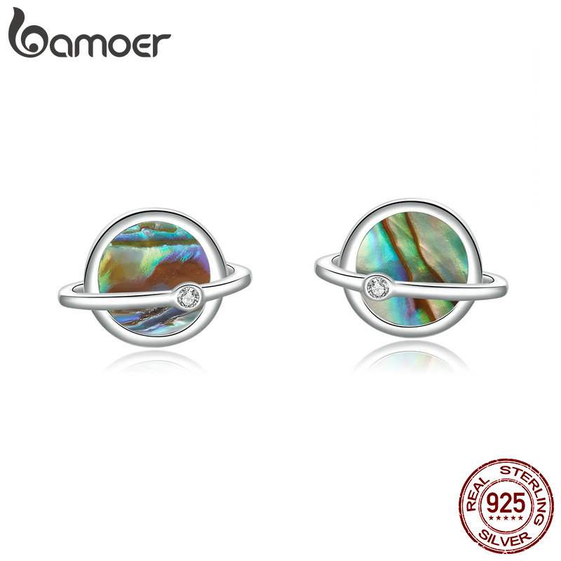 bamoer Planet Collection Stud Earrings Sterling Silver 925 Natural Stone Shell Universe Ear Studs Women Fashion Jewelry BSE134bamoer Planet Collection Stud Earrings Sterling Silver 925 Natural Stone Shell Universe Ear Studs Women Fashion Jewelry BSE134
