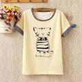 2016 новый летний большой размер женщин хлопок свободные коротким рукавом кот печатных Футболку студенты стиль Корейский лук шею топы w741