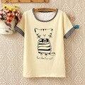 2016 nuevo verano mujeres de gran tamaño de algodón de la corto-manga del gato Camiseta impresa estudiantes estilo de Corea del arco de cuello redondo tops w741