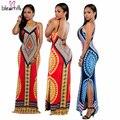 Африканские Платья для Женщин Dashiki Традиционное Платье Хиппи Стиль Секси Длинный Индийский Одежда Печати Женский Причинно Спинки Халат