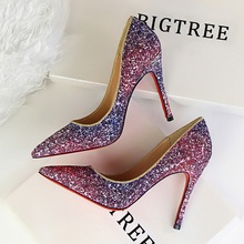 2017 Sexy Sequins  Women High Heels Pumps Shoes Pointed toe PU Leather  Pumps Shoes  6 Colour