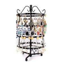 144 Holes Round Rotating Jewellery Display Stand Black Metal Earrings Holder Organizer Stand Rack #46674