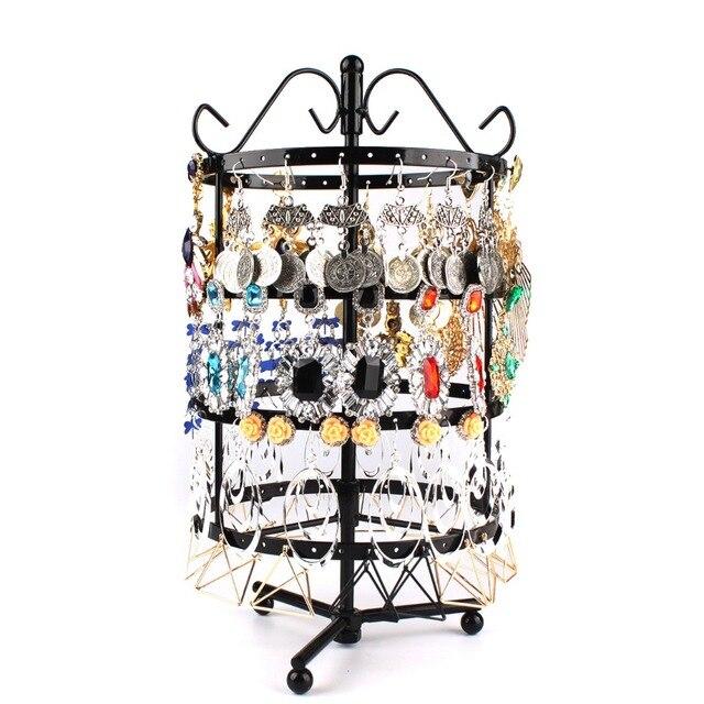 144 חורים עגול מסתובב תכשיטי תצוגת Stand שחור מתכת עגילים ארגונית מחזיק Rack Stand #46674