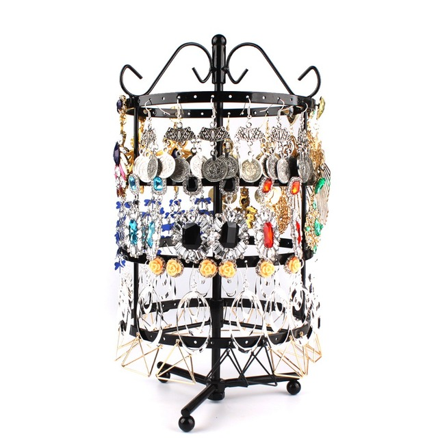 Metal Earring Display Stands Round Rotating Jewellery Display Stand Black Metal Earrings Holder 19