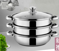 Stainless Steel Steam Pot 3 Layer Thicken Hot Pot Cooker 3 Layer 2 Layer Steamer Grid Apply to Gas and Induction Cooker