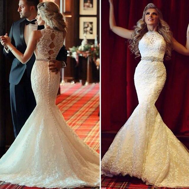 2016 mermaid wedding dresses designer robe de mariage vestido de noiva see though back lace birdal - Aliexpress Mariage