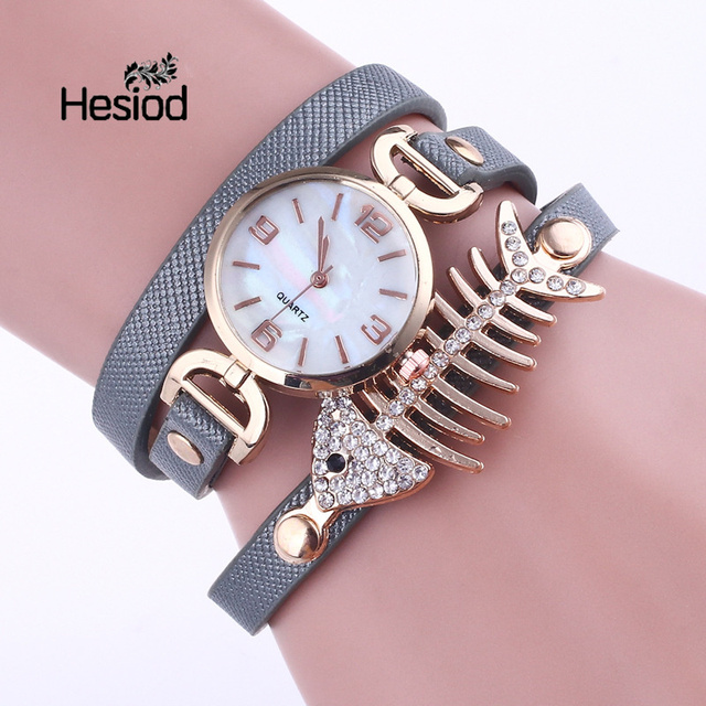 Hesiod Lady Luxury Crystal Fish Bracelet Watches Women Fashion Leather Quartz Wr