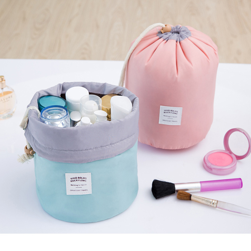 High Quality Fashion Barrel Shaped Travel Cosmetic Bag Make up Bag Nylon Wash Kit Bags Makeup Organizer Storage Bag Big Capacity fashion cosmetic bags high quality patent leather make up bags ladies cosmetic cases organizer bags cute cosmetic bag
