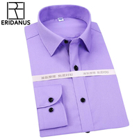 Solid Men Shirts Business Office Work Long Sleeve Casual Fashion Dress Shirt Social Brand Clothing Plus