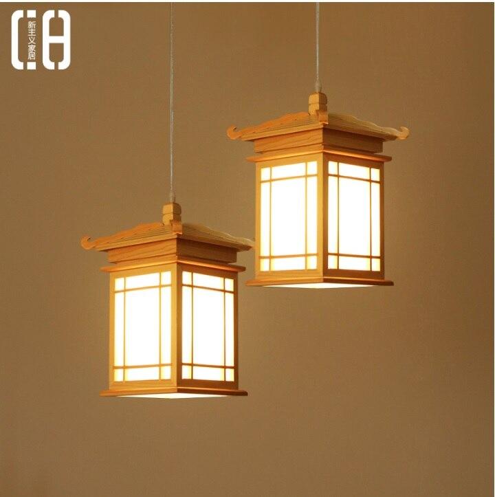 Pendentif lanterne tour japonaise avec corps en boisPendentif lanterne tour japonaise avec corps en bois