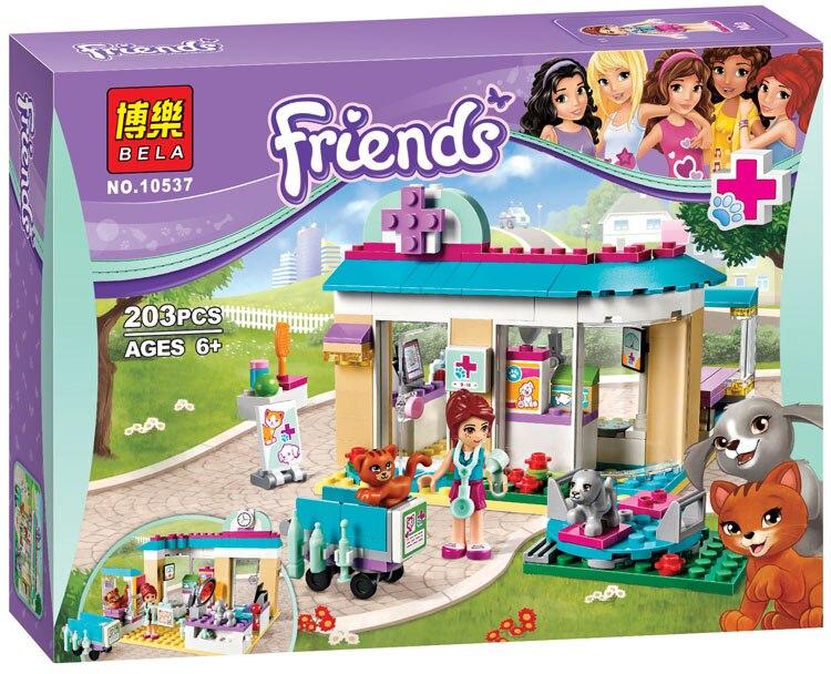 Vet Clinic 203pcs Friends Series Set Emma Stephanie Mia Olivia Andrea Building Block Minifigure Girls Toy Lepin 41085 пляж на самуи