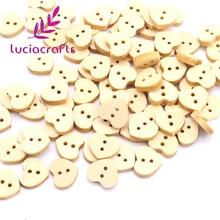 Lucia Crafts 50pcs /Bag 13mm Heart-Shaped Wooden Button 2 Holes Button For Garment Accessories E0236