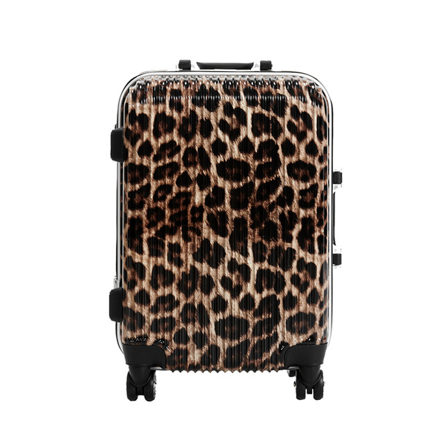 20 INCH 202428# new aluminum frame leopard trolley suitcase of western style universal wheel waterproof boarding check box #E